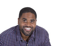Smiling black male on white Stock Photos