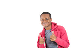 A smiling black man showing thumbs up Royalty Free Stock Photography
