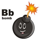 Happy bomb and abc. Smiling black round bomb with black abc Royalty Free Stock Images