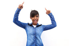 Smiling black woman pointing fingers up Royalty Free Stock Images