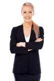 Smiling blond business woman on white Stock Image