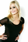 Smiling Blond Dressed in Black Royalty Free Stock Photography