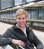 Smiling blond man stock image