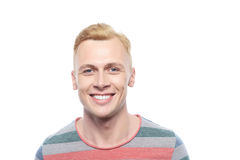 Smiling blond man on isolated white background Royalty Free Stock Photos