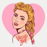 Smiling blond pin-up girl Stock Photos