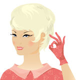 Smiling blond retro lady Stock Image