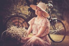 Smiling blond retro woman Stock Photo