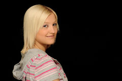 Smiling blond teenager royalty free stock images