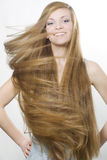 Smiling Blond With Great Long Hair Stock Images