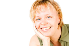 A smiling blond woman. In a green shirt Royalty Free Stock Photography