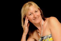 Smiling blond woman stock photos