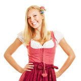 Smiling blond woman in dirndl dress stock photos