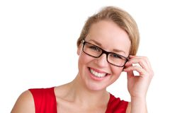 Smiling blond woman with glasses Stock Photography