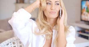 Smiling Blond Woman Talking Through Phone Stock Photos