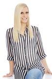 Smiling Blond Woman Wearing Striped Shirt Stock Photos