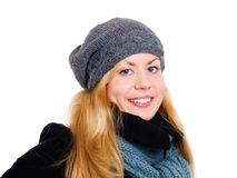 Smiling blond woman in winter clothes Royalty Free Stock Images