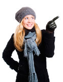 Smiling blond woman in winter clothes Stock Images