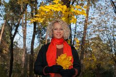 Smiling blond woman with yellow maple leaves standing in autumn park. stock photo