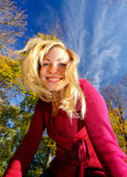 Smiling blonde. Gorgeous blonde smiling (funny perspective Stock Photos