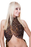 Smiling blonde belly dancer Royalty Free Stock Photos