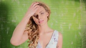 Smiling blonde caucasian woman. stock footage