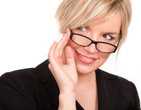 Smiling blonde with eyeglasses Royalty Free Stock Images