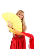 Smiling blonde with fantail Stock Images