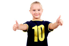 Smiling blonde girl with double thumbs up! Stock Photography