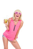 Smiling blonde girl with a drink Royalty Free Stock Image