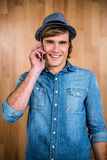Smiling blonde hipster phone calling Royalty Free Stock Images