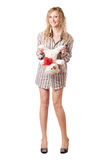 Smiling blonde holding teddy bear Stock Image