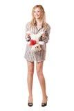 Smiling blonde holding teddy bear Stock Image