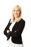 Smiling blonde isolated businesswoman Stock Photography