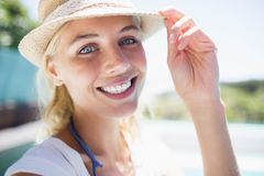 Smiling blonde looking at the camera Stock Image