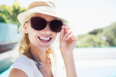 Smiling blonde looking at the camera Stock Photo