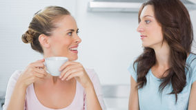 Smiling blonde looking at her friend and drinking coffee Royalty Free Stock Images