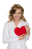 Smiling blonde pushes heart to himself Royalty Free Stock Photo