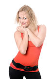 Smiling blonde in red t-shirt Stock Photo