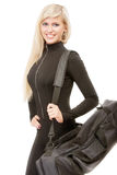 Smiling blonde with sports bag Royalty Free Stock Photo