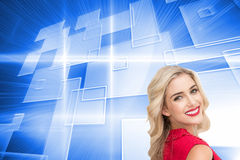Smiling blonde standing hands on hips Royalty Free Stock Photo
