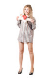 Smiling blonde with teddy bear Stock Photo