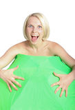 Smiling blonde and umbrella Royalty Free Stock Photo