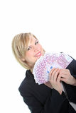 Smiling Blonde Woman Holding 500 Euro Notes Royalty Free Stock Photos