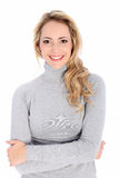 Smiling blonde woman portrait over white Royalty Free Stock Photos