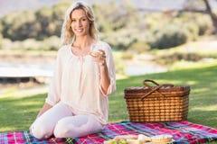 Smiling blonde woman sitting on picnic blanket Stock Photos