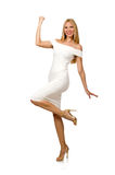 The smiling blondie in elegant resort dress isolated on white Royalty Free Stock Photo