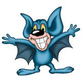 Smiling blue bat Royalty Free Stock Photo