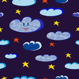 Smiling blue clouds and bright stars Stock Photography