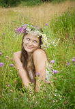 Smiling blue-eyed girl royalty free stock photo