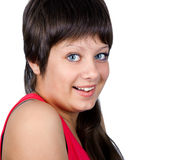 Smiling blue-eyed girl on a white background. portrait Royalty Free Stock Photography